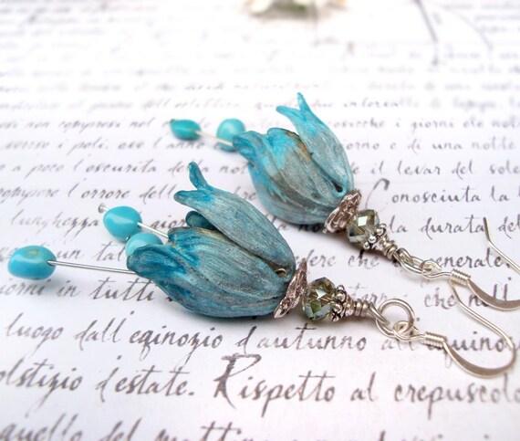 Ombre Tulip earrings with Sleeping Beauty Turquoise