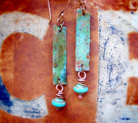 Cowgirl Grunge copper patina earrings