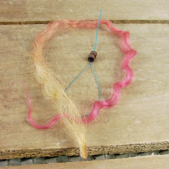 Wool Lock Hair Extension Kit - hand dyed, single lock, pink to yellow fade