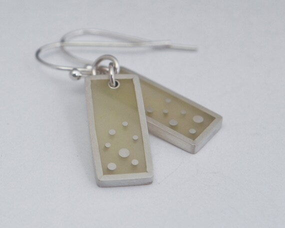 That Feeling Earrings pale yellow resin and sterling silver, dots
