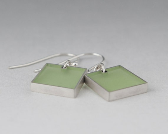 Come One, Come All earrings in pale green resin and sterling silver