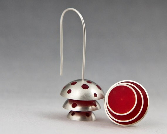 California Earrings - sterling silver domes filled with red resin