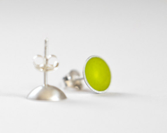 Another Day Post Earrings - sterling silver and chartreuse/yellow resin