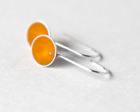 Another Day Earrings - orange resin and sterling silver - spring - summer - March Madness