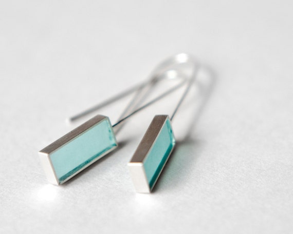 Barred Earrings - sterling silver, aqua turquoise resin