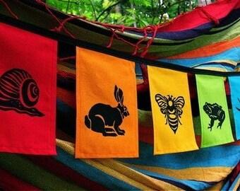 Garden Creatures Rainbow Flags