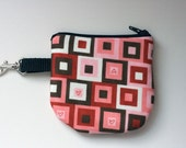 Brown and Pink Heart Key Pouch