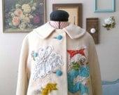 SALE -- DIY Embellished Cream Wool Coat // Mustard Turquoise Coral Embroidered Vintage Coat
