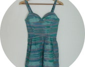 Teal Ikat Bustier Romper // DIY tribal print one piece sun suit