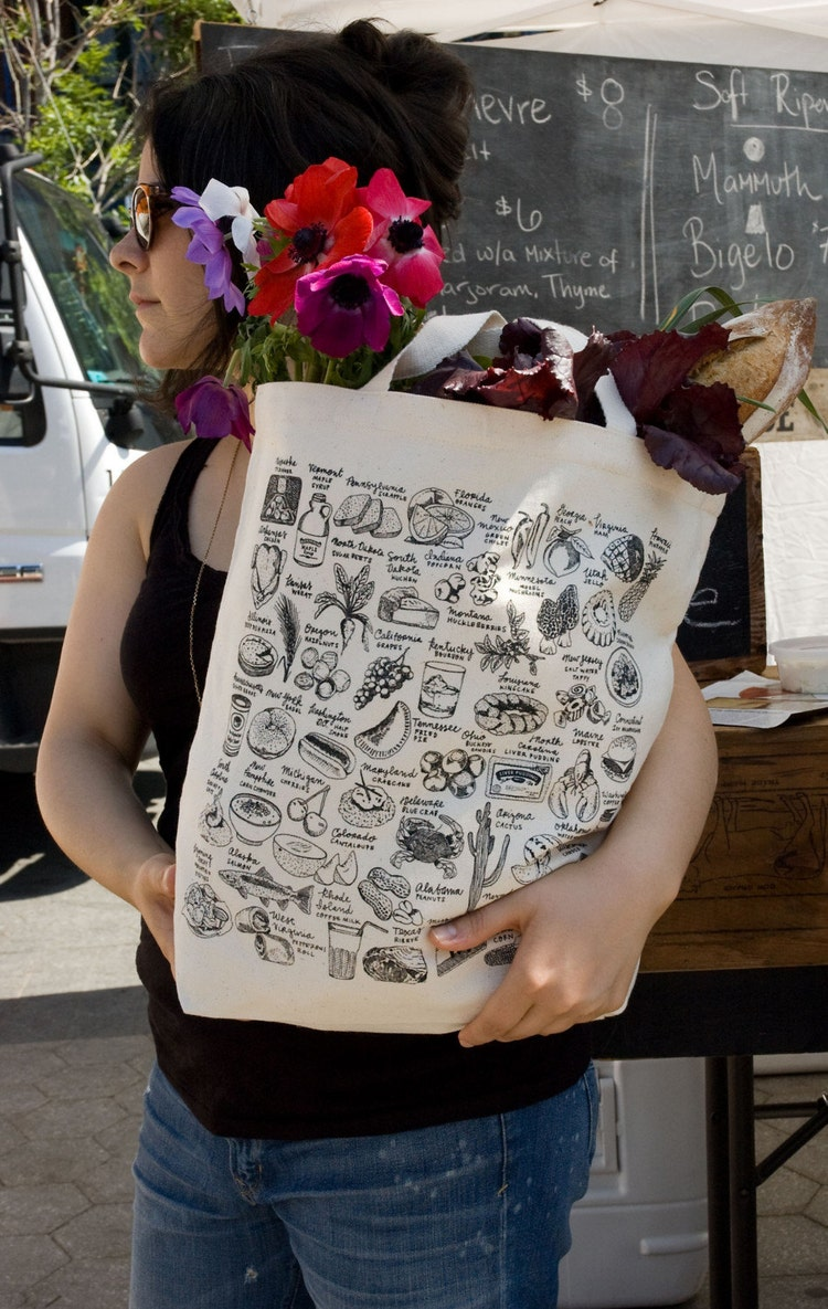 State By Food Tote Bag By Melangeriedesign On Etsy