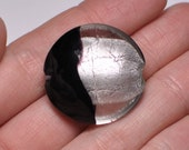 black and silver foil focal bead