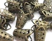 Antique Copper Bead Caps Filigree