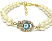 New Bracelet Hamsa Evil Eye  Pearl Gold Holidays Etsy