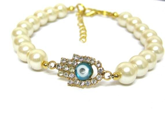 New Bracelet Hamsa Evil Eye  Pearl Gold Holidays Etsy