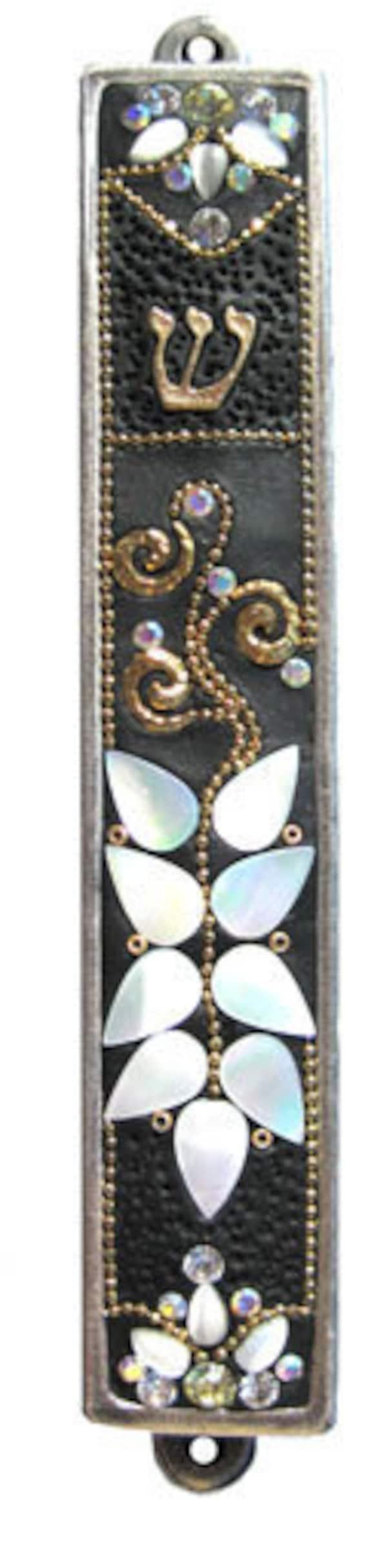 New Shell Mezuzah Handmade Art Flower Swarovski crystal GOLd Irina Smilansky