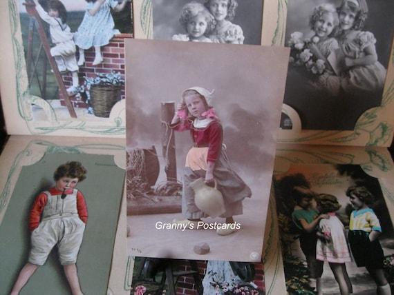 Oranotype RPPC. 1907. Dutch Children. Costume. Little Girl with pitcher. Wooden shoe.
