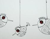 Three Red - Eyed Wire Birds Mobile Sculpture
