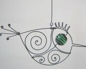 Small Green - Eyed Wire Bird Ornament