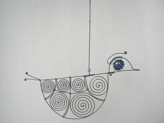 Wire Sculpture Blue - Eyed Wire Duck