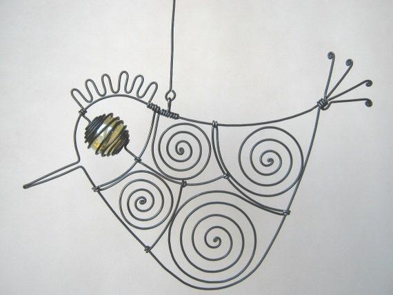 Wire Bird Sculpture Hanging Window Decoration