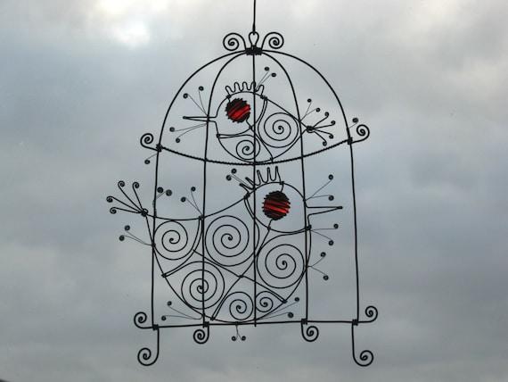 Metal Birdcage Sculpture In Red / Hanging Wire Sculpture