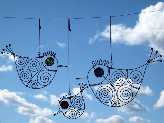 Three Wire Birds Mobile Sculpture