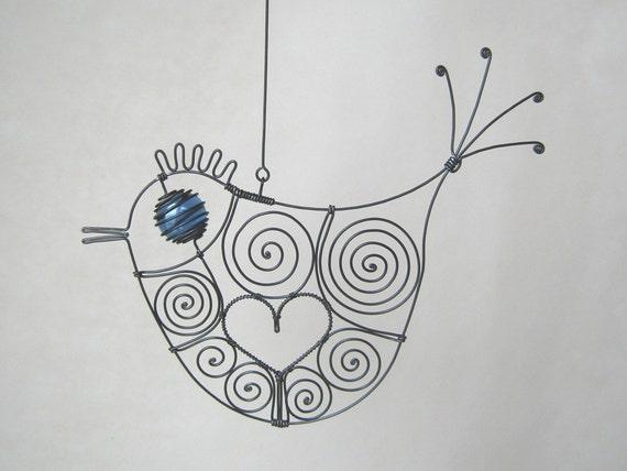 Wire Bird Sculpture Love Bird In Blue