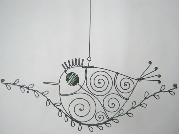 Wire Bird On A Wire Twig Sculpture For Your Window