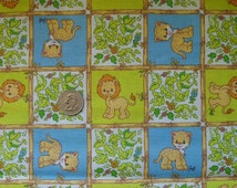 """Adorable Precious Moments Cotton Fabric Children Kids Baby Lions Leopards 45"""" wide BTY Blue Green"""