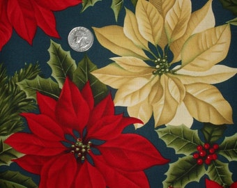"1 yard Alexander Henry Christmas Poinsettias on Teal Cotton Fabric 45"" wide (Sold BTY)"