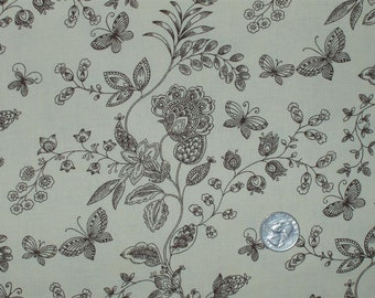 "Quilt Backing Fabric 108"" wide 100 percent Cotton Tan with Chocolate Brown Butterflies BTY"