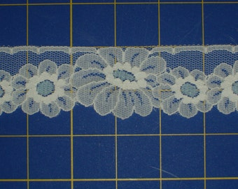 Vintage Lace Trim Unusual Blue and White Daisy Flowers 2 yds x 1 5/8 inches