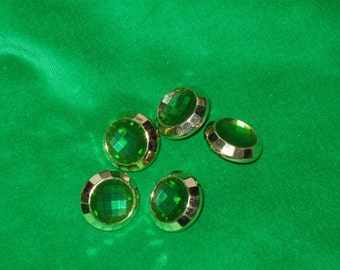 """5 Acrylic Buttons, Emerald Jewel with Gold Setting 3/4"""" wide Lightweight"""
