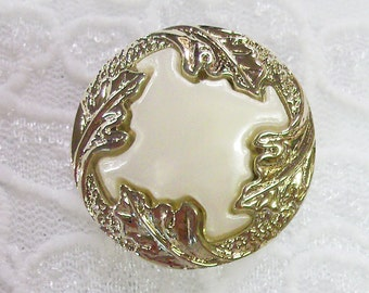 3 Buttons, 1 inch Round White with Silver Leaf Embellishment, Lightweight, Great Texture