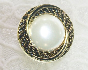 10 Buttons, 1 inch Round Large White Faux Pearl in Braided Gold Setting, Lightweight, 100% Acrylic