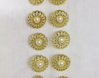 12 Buttons, 3/4 inch Small, Round, White, Gold Setting, Lightweight, 100% Acrylic