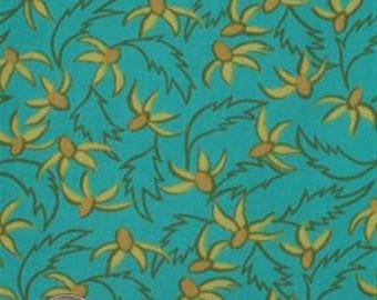 """michael miller Aqua Yellow Floral """"Warm Breezes"""" Cotton Print Fabric 1 yard by 45"""" wide (sold BTY)"""