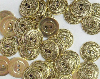 12 Buttons, 5/8 inch Small Gold Swirl, Lightweight, 100% Acrylic