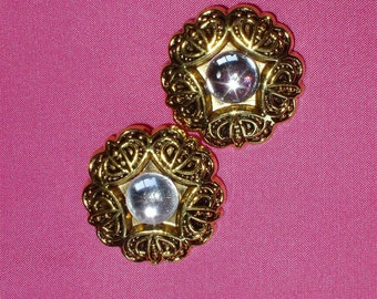 """2 Acrylic Buttons, Round Gold Filligre Type Setting with Clear Crystal Bead Center 1 1/4"""" diameter Lightweight"""