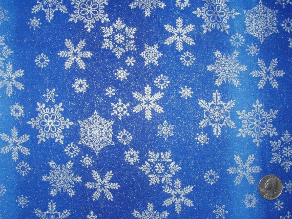 Blue Fabric With Snowflakes Blue Cotton Fabric w/ Silver