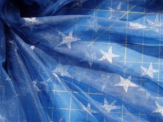 Soft Sheer Dark Blue Tulle Silver Glitter Stars 60 Inches