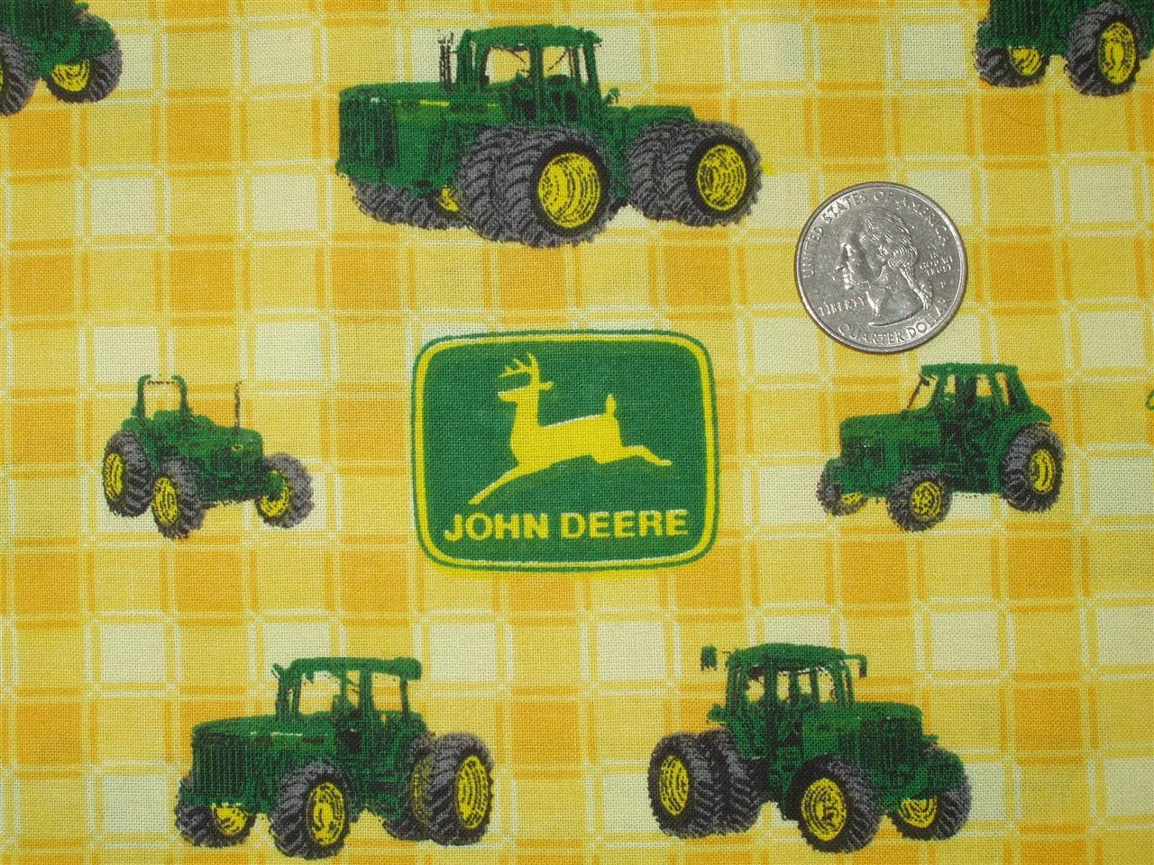 John Deere Fabric : John deere tractors yellow plaid cotton fabric by springs