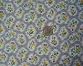 Vintage Fabric Grey Yellow Mini Flowers Cotton 1950s 2 3/4 yd