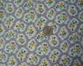 Vintage Fabric Grey Yellow Mini Flowers Cotton 1950s 2 3/4 yd