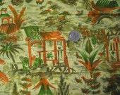 Vintage Cotton 1940s 1950s Asian Retro Print 4 Yards Yellow Green Orange