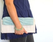 MOVING SALE - Birch in Teal \/\/ clutch - originally 40.00 - EVERYTHING HALF OFF
