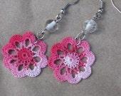 Pink Flower Crocheted Earrings