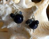 Blue Earrings, Blue Gemstone Clusters. Under 25Dollars, Earrings Blue