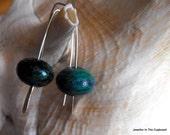 Chrysocolla Earrings, Blue Green Earrings, Modern Earrings, Silver Earrings, Under 30 Dollars