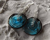 Blue Earrings, Blue Glass Disk Earrings, Modern Earrings, Geometric Earrings, Circle Earrings, Chain Earrings